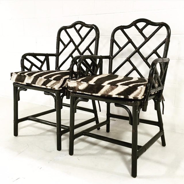 Chinese Chippendale Black Painted Side Chairs - One Available - Image 2 of 3