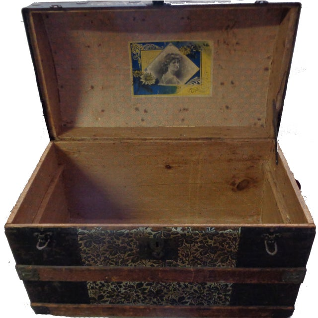 Antique Late 1800s Barrel Top Trunk - Image 2 of 4