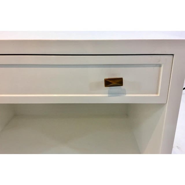 2010s Worlds Away Modern White Lacquered Warren Two Drawer Nightstand/Side Table For Sale - Image 5 of 6