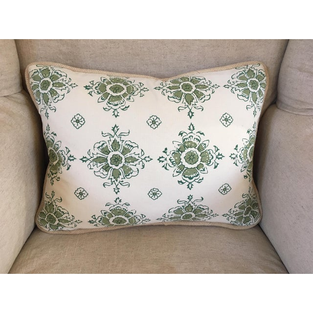 This wonderful custom made small lumbar pillow would look great alone on your favorite chair or mixed alongside a melange...