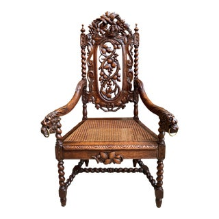 Antique French Carved Oak Throne Arm Chair Barley Twist Renaissance Louis XIII For Sale
