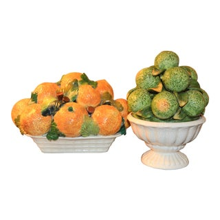1970s Vintage Italian Lime & Orange Topiary Set- A Pair For Sale