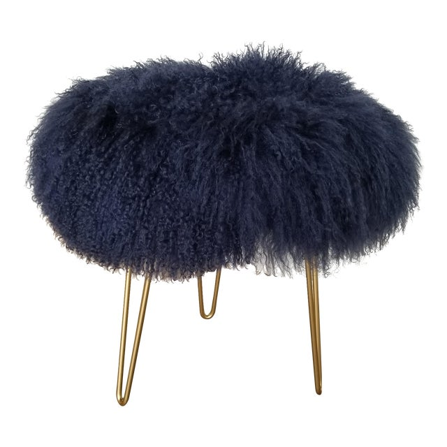 Navy Genuine Mongolian Lambs Wool Stool For Sale
