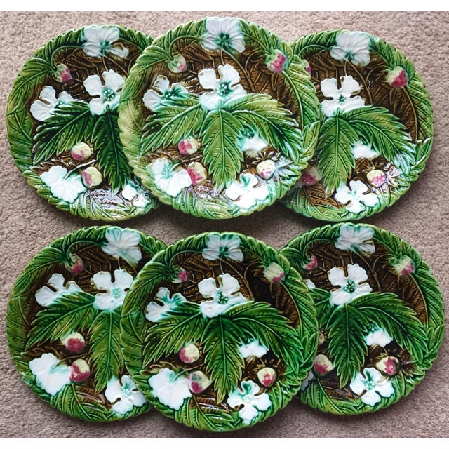 Antique French Orchies Majolica Strawberry Plates-Set 6 For Sale - Image 9 of 11