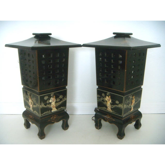 Vintage Lacquered Chinese Lanterns - A Pair For Sale - Image 4 of 9