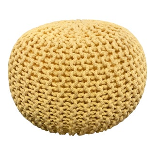 Yellow Woven Round Pouf For Sale