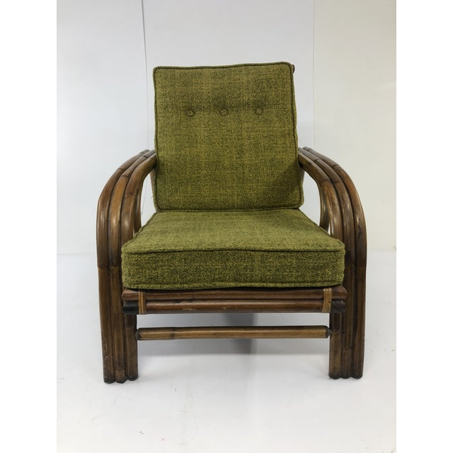 1960s Mid Century Boho Chic Bamboo Lounge Chair With Green Upholstery For Sale - Image 5 of 13