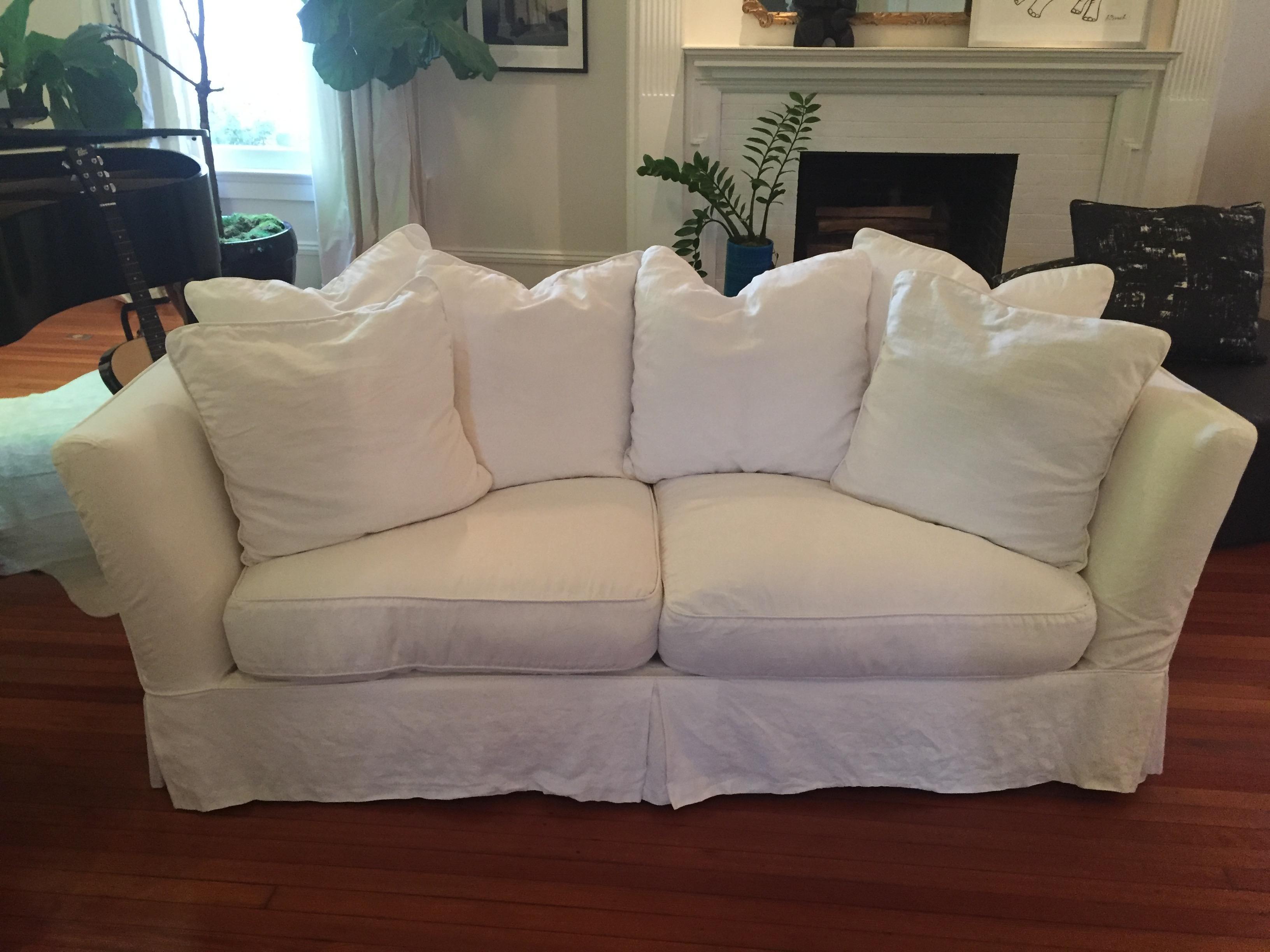 Chalk White Linen Slipcovered Sofa   Image 2 Of 6