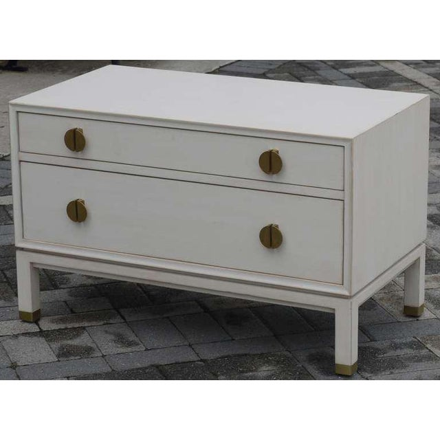 Wonderful custom Dunbar chest designed by Edward Wormley redone in a faux ivoy finish. Great scale which could easily be...