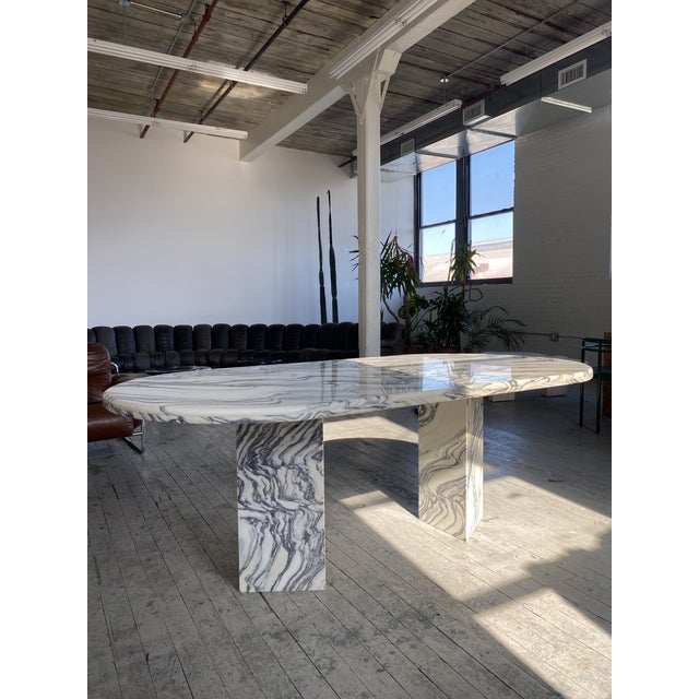 Contemporary 1980s Postmodern Oval Marble Dining Table For Sale - Image 3 of 8