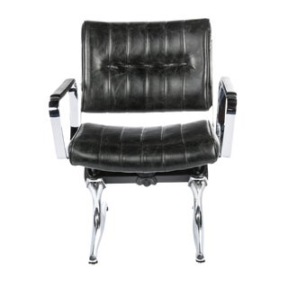 Chromcraft PDXoriginals Powell Black Leather Accent Chair