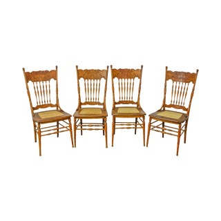 Antique Set 4 North Wind Pressed Back Oak Cane Seat Dining Chairs