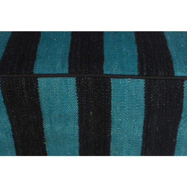 Arshs Deedee Blue/Black Kilim Upholstered Handmade Ottoman For Sale In New York - Image 6 of 8