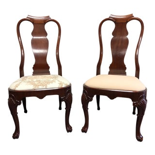Solid Mahogany Queen Anne Dining Side Chairs - Pair 3 For Sale