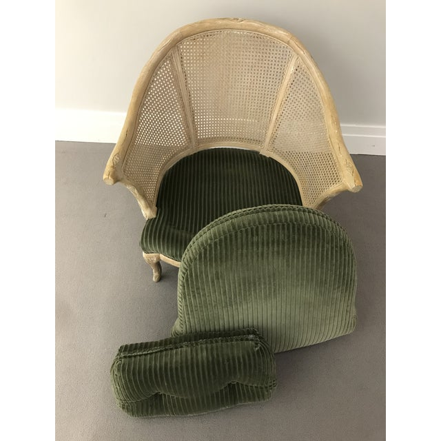 Boho Chic 1960s Faux Bois / Cane Arm Chair With Green Corduroy For Sale - Image 3 of 13