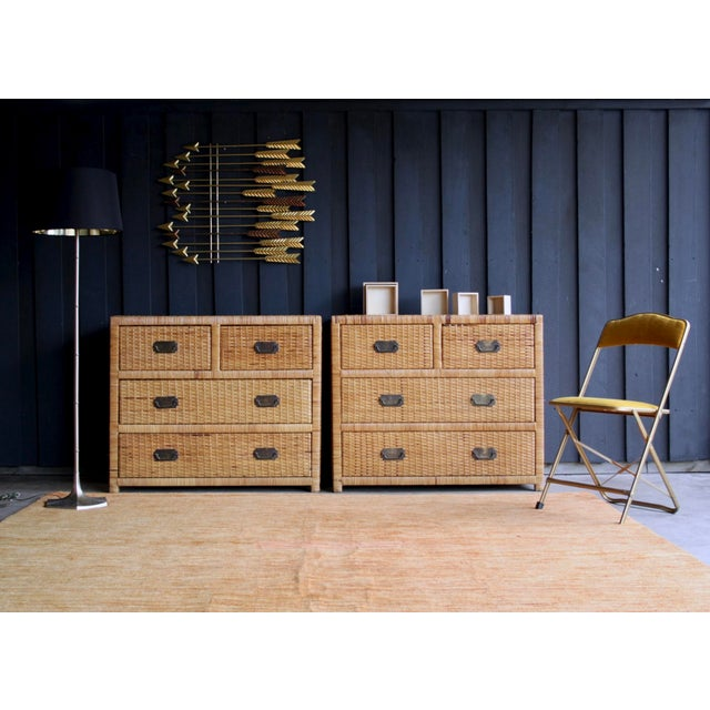 Brighton Pavilion Lacquered Rattan Bachelor Chest (Pair Available) For Sale - Image 4 of 13