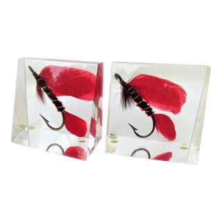 Vintage Acrylic Lucite Fishing Bookends - a Pair For Sale