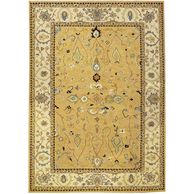 Contemporary Traditional Tan & Gold Hand Woven Rug - 6′ × 8′5″ For Sale