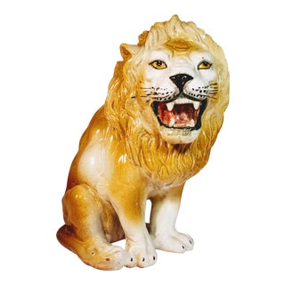 Vintage Italian Lion Terra Cotta Figurine For Sale
