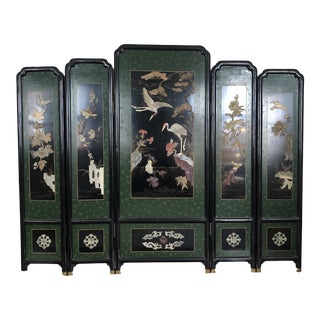 Vintage Asian Style Ebonized Chinoiserie Screens-Set of 5 For Sale
