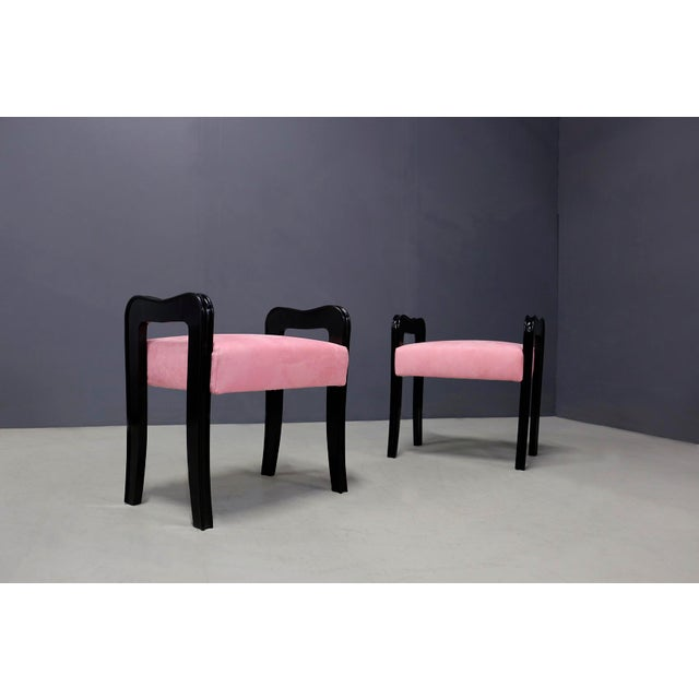 Pair of Italian stools attributed to designer Paolo Buffa from around 1950. The stools have been restored and lined in...