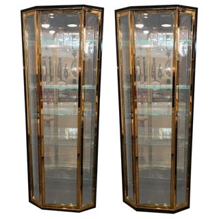 Pair of Hollywood Regency Style Mastercraft Bronze & Ebonized Showcase Cabinets For Sale