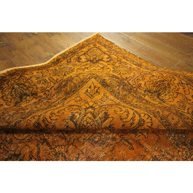 "Orange Tabriz Overdyed Area Rug - 9'10"" X 12'3"" - Image 9 of 10"