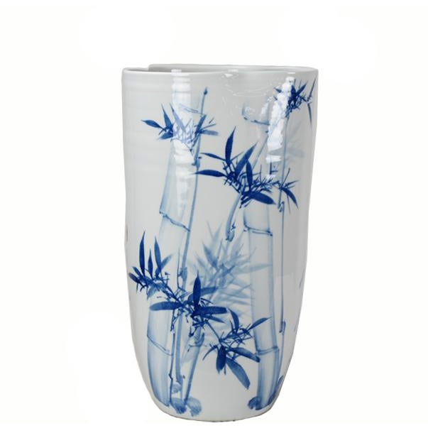 White Chinoiserie Blue & White Porcelain Vase For Sale - Image 8 of 8