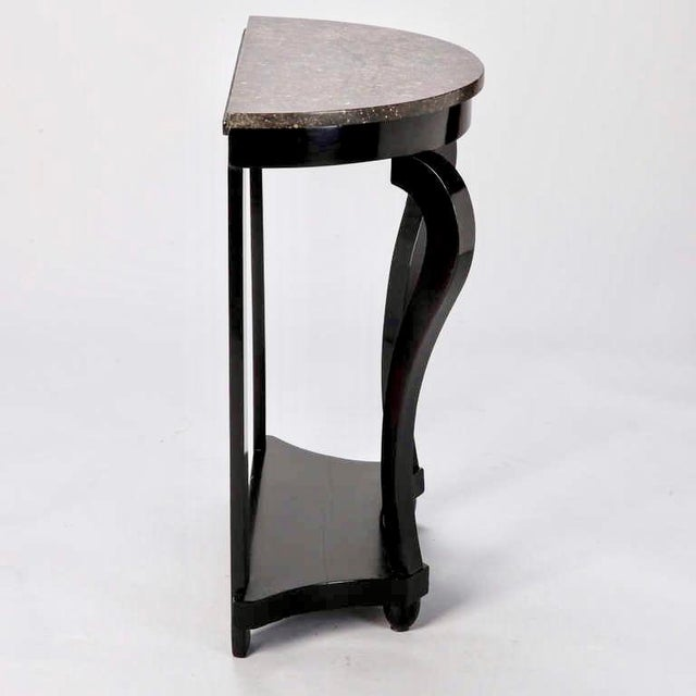 French Demi Lune Ebonised Console with Marble Top - Image 4 of 8