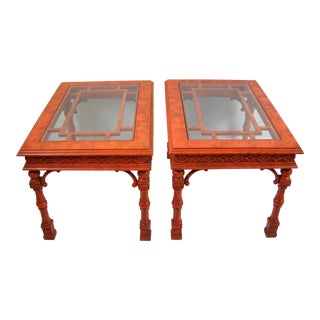 1970s Red Chinoiserie Thomasville Side Tables - a Pair For Sale