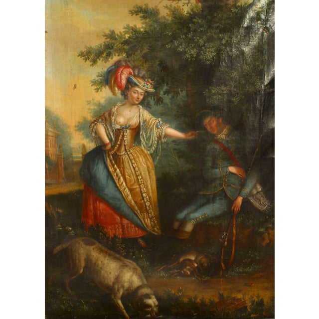 French Louis XVI (18th century) oil painting of a scene with a dog and a young lady enticing a young sleeping man with a...