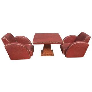 Leather, Art Deco Desk Accessory Set For Sale