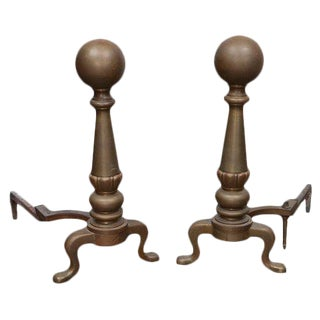 Large Brass Cannonball Andirons - a Pair For Sale
