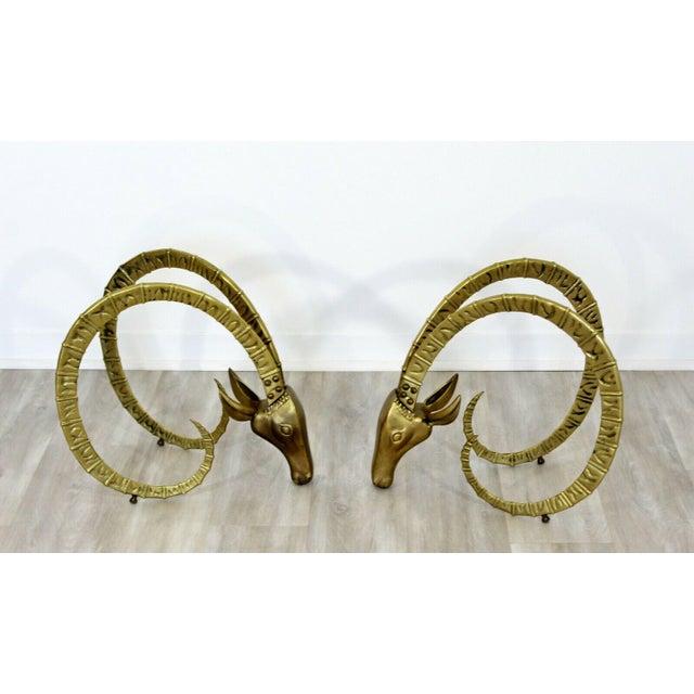 Hollywood Regency Mid Century Modern Hollywood Regency Pair Bronze Ibex Heads Chervet Attr 1970s For Sale - Image 3 of 10