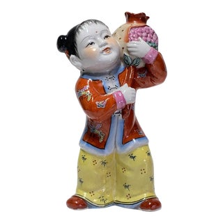 Large Vintage Mid 20th Century Chinese Figure of Young Girl With Pomegranate Vase For Sale