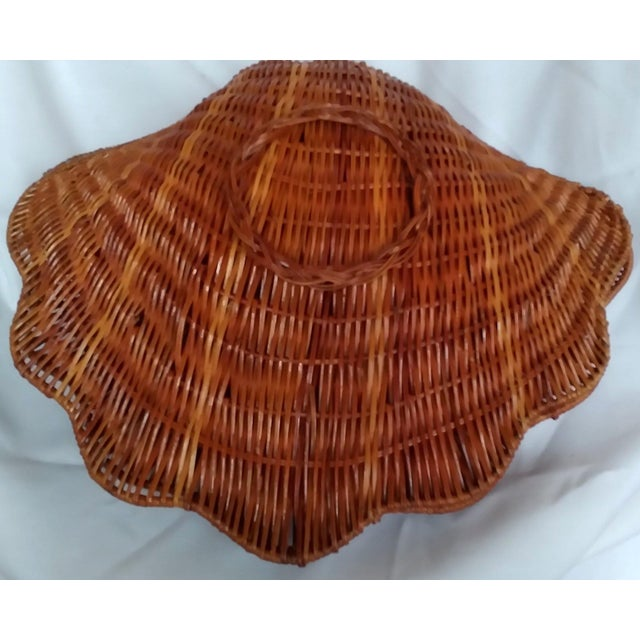 Hollywood Regency Large Vintage Wicker Shell Hinged Basket For Sale - Image 3 of 5