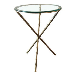 Maison Bagues Style Faux Bamboo Brass Tripod Table