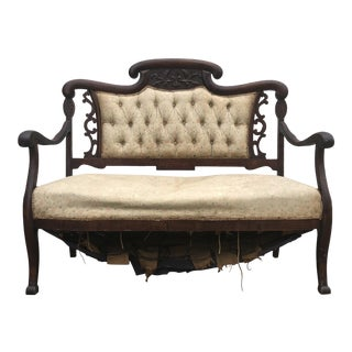 Final Price Antique Eastlake Victorian Style Carved Settee For Sale