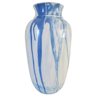 Contemporary Marbleized Ink Splatter Vase For Sale