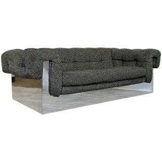 Mid Century Modern Milo Baughman Chrome Wrapped Tufted Sofa For Sale