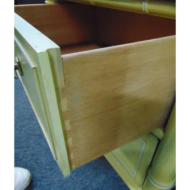 Hollywood Regency Style Cream & Yellow Faux Bamboo Nightstands - a Pair For Sale In Philadelphia - Image 6 of 10