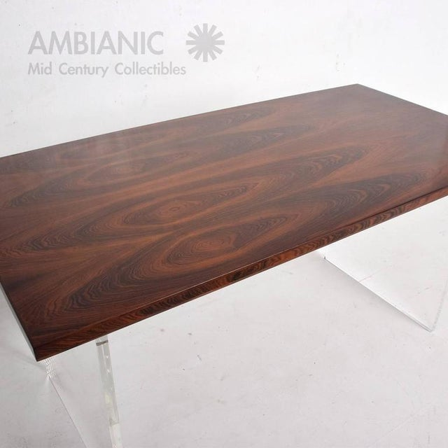 Mid-Century Modern Rosewood and Lucite Table For Sale - Image 10 of 10