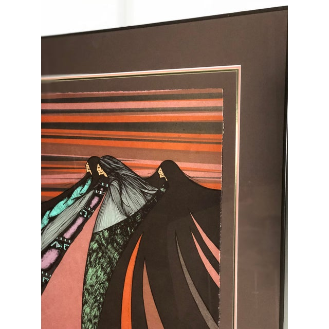 """Tribal """"Tres Hermanas"""" Framed Chromolithograph by Amado Maurillo Pena For Sale - Image 3 of 7"""