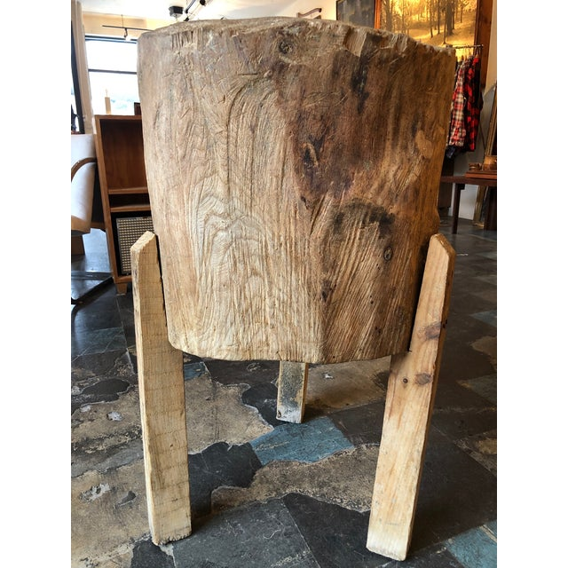 Wood 20th Century Organic Modern Tree Trunk Chop Block For Sale - Image 7 of 8
