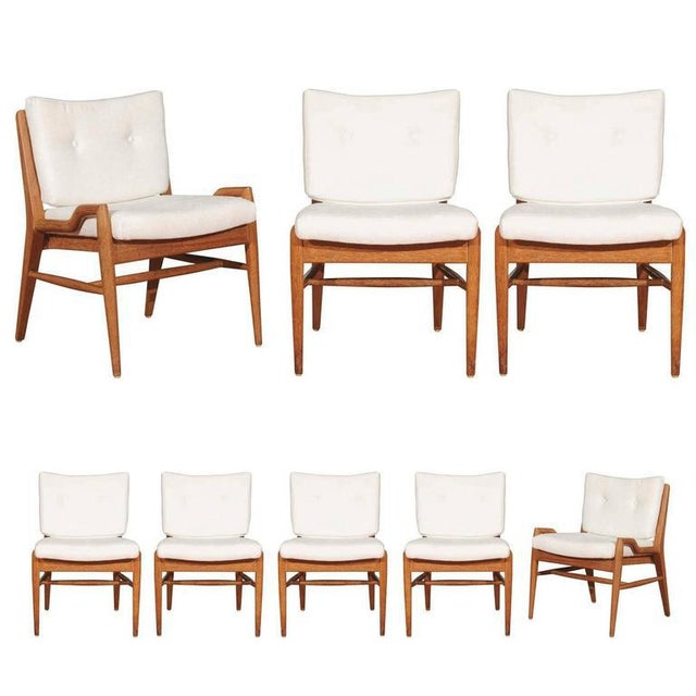 Chic Restored Set of Eight Cerused Mahogany Dining Chairs by John Keal For Sale - Image 11 of 11
