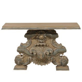 Italian Baroque Style Fragment Console Table, Rectangular Top With Shell Motifs For Sale