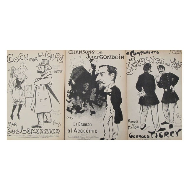 French Steinlen Song Sheets Circa 1900 - S/3 For Sale