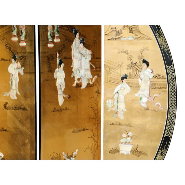 Chinese Four Panel Gilt Lacquer Floor Screen - Image 3 of 9