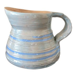 Vintage Glazed Blue Pottery Pitcher Signed by the Artist For Sale