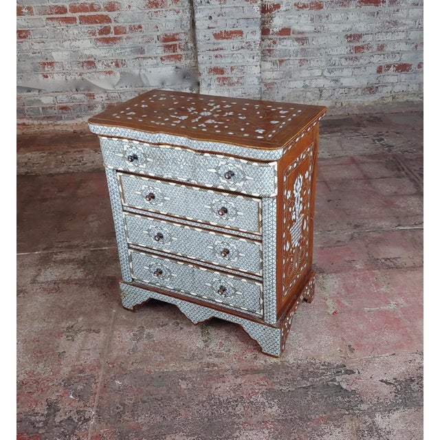 Art Nouveau Syrian Beautiful Mother-Of-Pearl Inlay Chests Nightstands - A Pair For Sale - Image 3 of 11